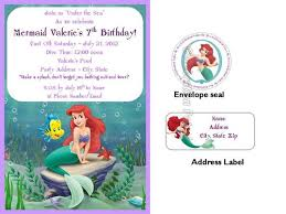 the little mermaid birthday invitations w address labels and seals
