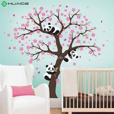 stickers pour chambre fille mignon panda et cherry blossom arbre sticker pour pépinière grand