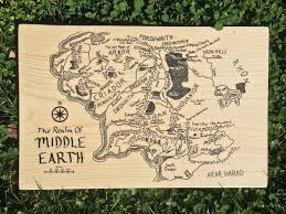 World Map Wood Wall Art by Wooden Lord Of The Rings Map Of Middle Earth Wood Wall Art