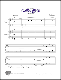 swan lake tchaikovsky beginner piano duet sheet