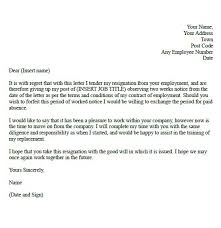 resignation letter an example of a letter of resignation add