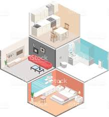 Studio Apartment 3d Floor Plans Isometric Flat 3d Concept Vector Interior Of Studio Apartments