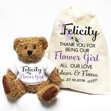flower girl teddy gift flower girl wedding day gift personalised teddy with