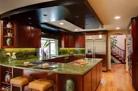 modern u shaped kitchen layout design ideas with green decoration