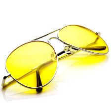 classic metal frame yellow tinted night driving aviator sunglasses