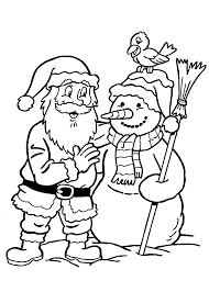santa claus and snowman coloring pages for kids printable free