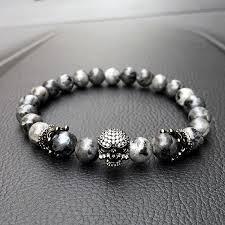 bracelet skull beads images Skull charm india labradorite 8mm natural stone beads bracelet for jpg