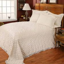 Ivory Quilted Bedspread Diamond Tufted Chenille Bedspread Walmart Com