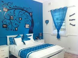 Blue Painting Teenage Girls Bedroom Decoration Ideas Inspiring - Blue and black bedroom designs