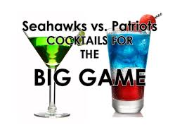 celebrate bowl with seahawks and patriots themed cocktails