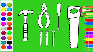 how to draw construction tools coloring pages kids learn drawing