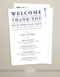 destination wedding itinerary itinerary cards for wedding hotel welcome bag printed