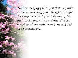 Is Seeking God Is Seeking Faith