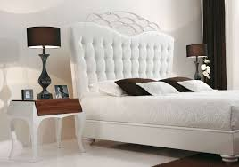 Quilted Bed Frame White Bedroom Furniture Brown Bedside Fixture White Covering
