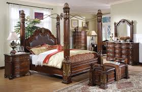 King Size Leather Headboard Canopy Bed Sets Bedroom Furniture Sets W Poster Canopy Beds 100