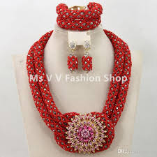red crystal beads necklace images 2018 african beads jewelry set coral red gold handmade crystal jpg