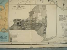 A Map Of New York State by Severely Vintage 1920 U0027s Map Of New York