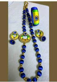 yellow necklace set images Blue and yellow silk thread necklace set with earrings and bangle jpeg