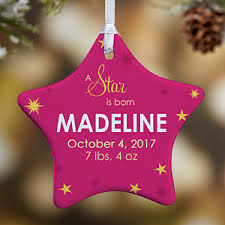 Baby Pink Christmas Decorations Personalized Baby Christmas Ornaments A Star Is Born 1 Sided
