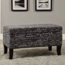 Printed Ottomans Linon Botanical Linen Bench Ottoman 18 Inches