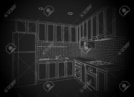 interior design of country style kitchen 3d wire frame sketch