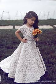 cute lace flower dresses 2016 short sleeve jewel floor length
