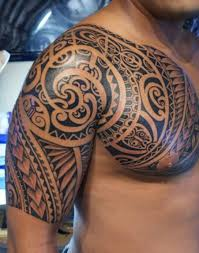 shoulder to chest tattoo brilliant samoan tribal tattoo on chest and shoulder