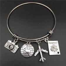 stainless steel bangle charm bracelet images 2 5 inch stainless steel expandable wire bangle love travel jpg