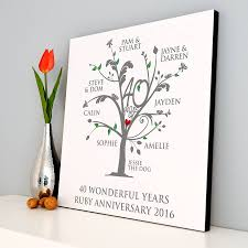 personalised ruby anniversary family tree print by a type of