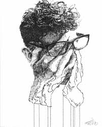 typewriter drawings turn photos into distorted portraits creators