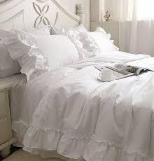 romantic white falbala ruffle lace bedding sets princess duvet cover set solid color comforter