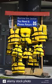 a life jacket loaner display on the washington nc waterfront