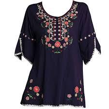 navy blue blouse kafeimali s embroidery bohemian cotton tops shirt