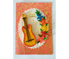 guitar and quilled flowers greeting card buy handmade cards