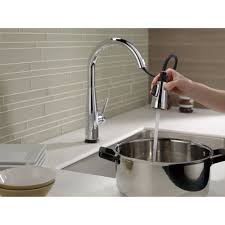 delta touch2o kitchen faucet delta faucet 9113t dst essa polished chrome pullout spray kitchen