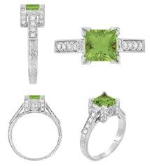 art deco 1 carat princess cut peridot and diamond engagement ring