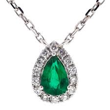 emerald drop womens emerald diamond drop necklace 14k white gold 0 68 ct