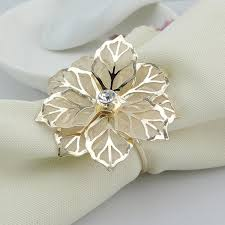 golden flower rings images Wholesale gold metal flower napkin rings for hotel wedding banquet jpg