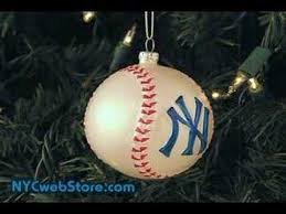 ny yankees baseball glass ornament
