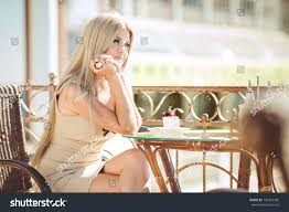 vintage beautiful woman restaurant cafe tiramisu stock photo