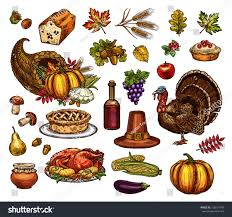 thanksgiving symbols sketch icons vector stock vector