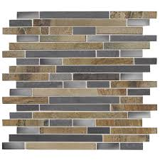 shop american olean delfino glass stainless dream linear mosaic