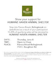 panera bread fundraiser humane animal shelter