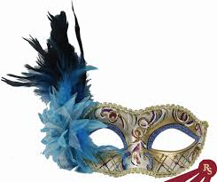mask with feathers fancy venetian mask with light blue accents