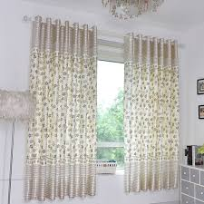 Silver Window Curtains Silver Gray Floral Print Polyester Color Block Country Bay