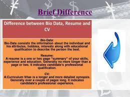 Difference Between Biodata And Resume Resume Cv Bio Data Differences U0026 E Portfolio