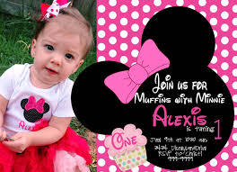 Birthday Invitation Cards For Kids First Birthday Free Minnie Mouse 1st Birthday Invitations Template