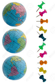 different plans of the globe and thumbtacked stock photo picture
