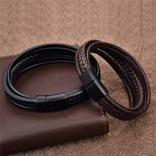 men black leather bracelet images New punk braid leather bracelet for men black stainless steel jpg