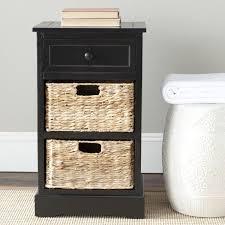 Cabinet Baskets Storage Black Bedside Table Storage Drawer Wicker Baskets Nightstand Side